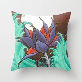 Mech Lotus Moon Throw Pillow