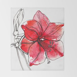 Red Lily Throw Blanket