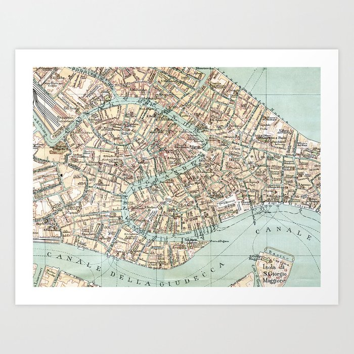 photo about Printable Map of Venice identified as Basic Venice Map Artwork Print through toddspencer