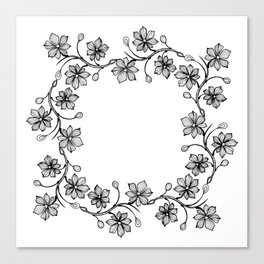 Black and White Floral Wreath Lineart Canvas Print