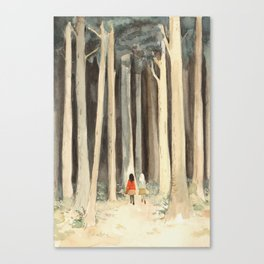 Snow & Rose in the Forest Canvas Print