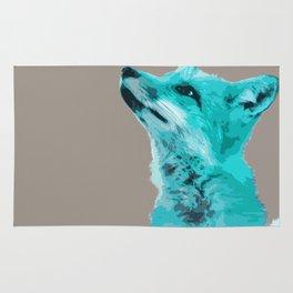FOX, BLUE FOX, FOX, BLUE FOX, FOX FACE, FOX IN BLUE, WINTER FOX, LITTLE FOX, FOX IN SNOW Rug