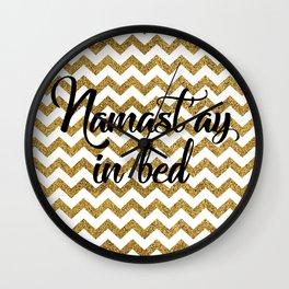 Namast'ay in bed Wall Clock