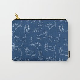 Basset Hounds Pattern on Navy Background Carry-All Pouch