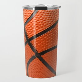 Bright orange basketball ball on a white background Travel Mug
