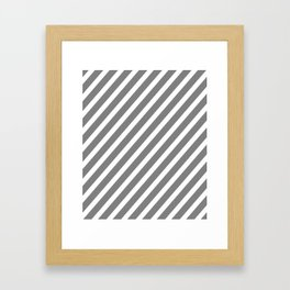 Grey Diagonal Stripes Framed Art Print
