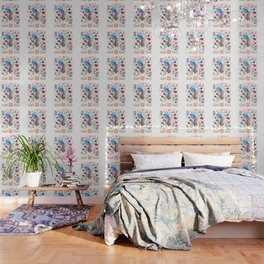 Folk Art Inspired Hummingbird In A Burst Of Springtime Blossoms Wallpaper