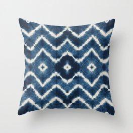 Shibori, tie dye, chevron print Throw Pillow