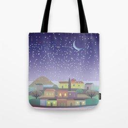 Snowing Village at Night Tote Bag