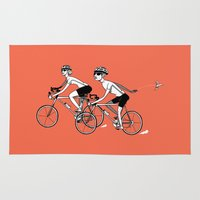 cycling Area & Throw Rugs featuring Keep Cycling by Drew Linne