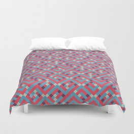 Geometric Labyrinth Red And Blue Duvet Cover