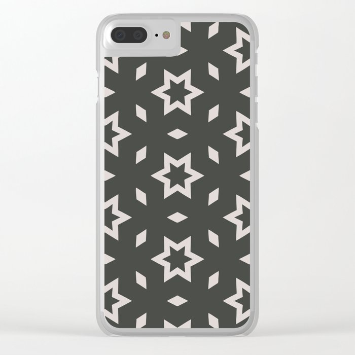Black and white Stars Pattern Christmas Hollidays Clear iPhone Case