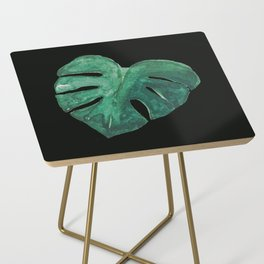 Monstera Leaf on Black Side Table