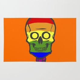 Gay Pride Rainbow Halloween Skull Skeleton Rug