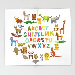 back to school. alphabet for kids from A to Z. funny cartoon animals Throw Blanket