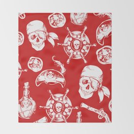 Red Pirate Pattern Throw Blanket