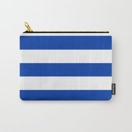 Royal azure - solid color - white stripes pattern Carry-All Pouch