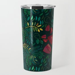 Reds and Greens Petals and Leaves Travel Mug