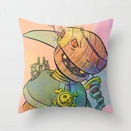 Robot Pirate Throw Pillow