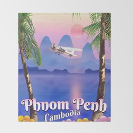 Phnom Penh Cambodia travel poster. Throw Blanket