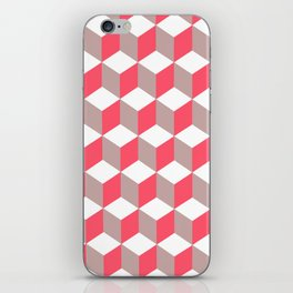 Diamond Repeating Pattern In Poppy and Soft Grey iPhone Skin