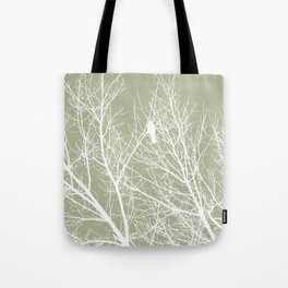 White Bird in White Tree - Moss A593 Tote Bag