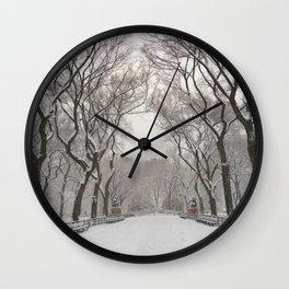 Central Park Mall Snow Wall Clock