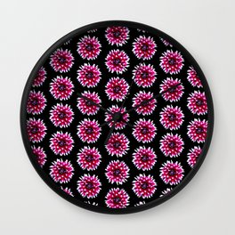 Dahlias Pattern  in Pink, Red Wall Clock
