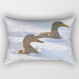 Ducks Swimming in Snow Rectangular Pillow