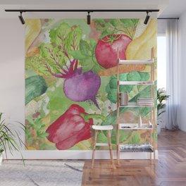 Mixed Vegetables Watercolor Wall Mural