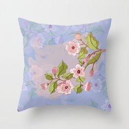 Colored Sketch of Sakura Branch Throw Pillow