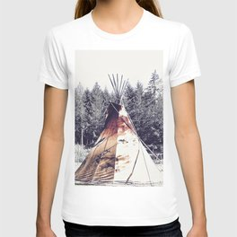 Tipi With Painted Elk And Birds T-shirt