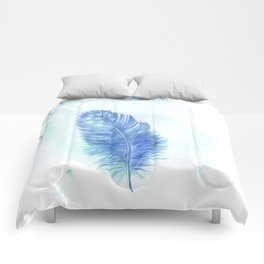 Blue feather. Watercolor illustration. Comforters