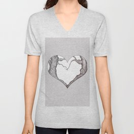 Two Trees in Love Sweetheart Valentine Illustration Unisex V-Neck