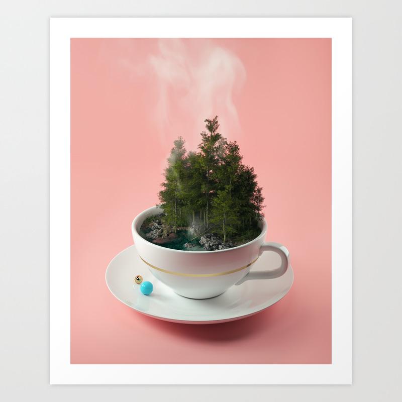 Hot Cup Of Tree Art Print by Filiphodas PRN6125704