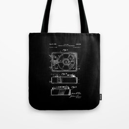 Turntable Patent - White on Black Tote Bag
