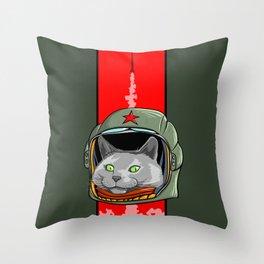 Russian Blue Space Program Throw Pillow