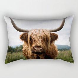Scottish Highland Cattle in Scotland Portrait II Rectangular Pillow