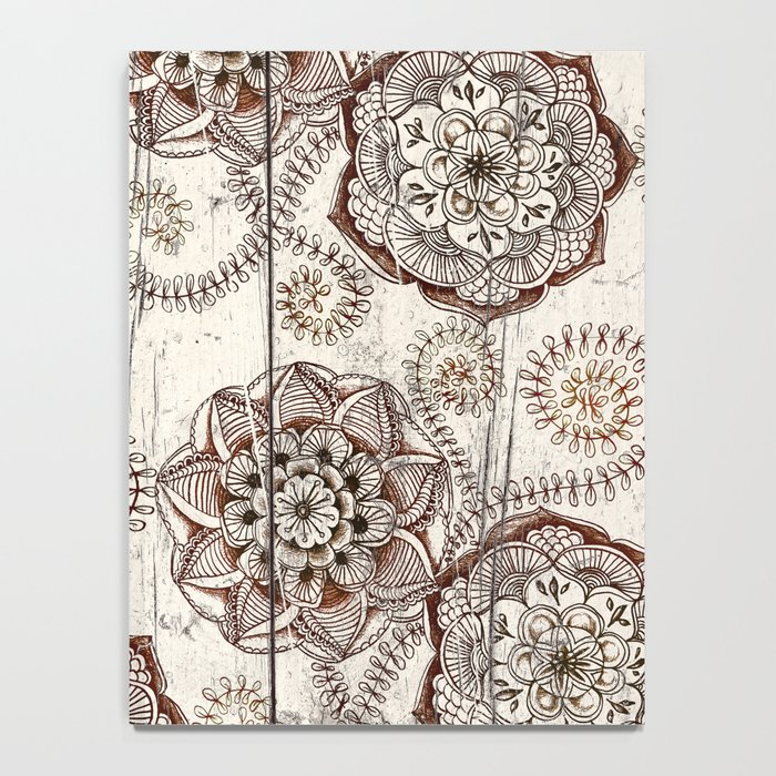 Coffee & Cocoa - brown & cream floral doodles on wood Notebook