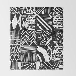 Grid lino print Throw Blanket