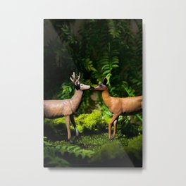 Deer Kissing In the Forest Metal Print