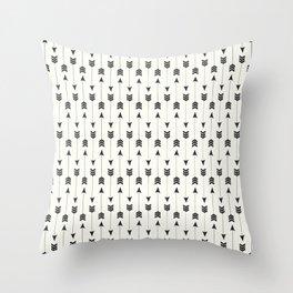 Modern simple black white bohemian arrows Throw Pillow