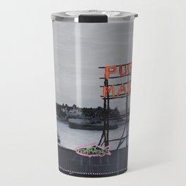 Pike Place Market - Black & White & Neon -Seattle Washginton Travel Mug