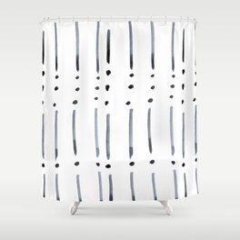 black and white dots and dashes boho modern Shower Curtain