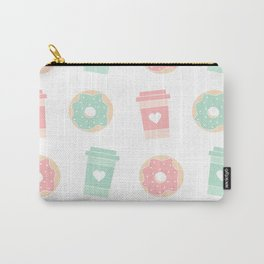 cute colorful donuts and coffee pattern background illustration Carry-All Pouch