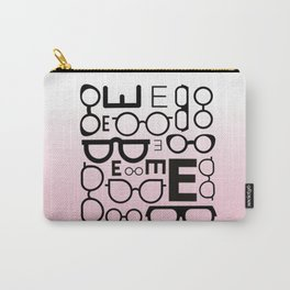 Eye Chart Eyeglasses Pink and Black Carry-All Pouch