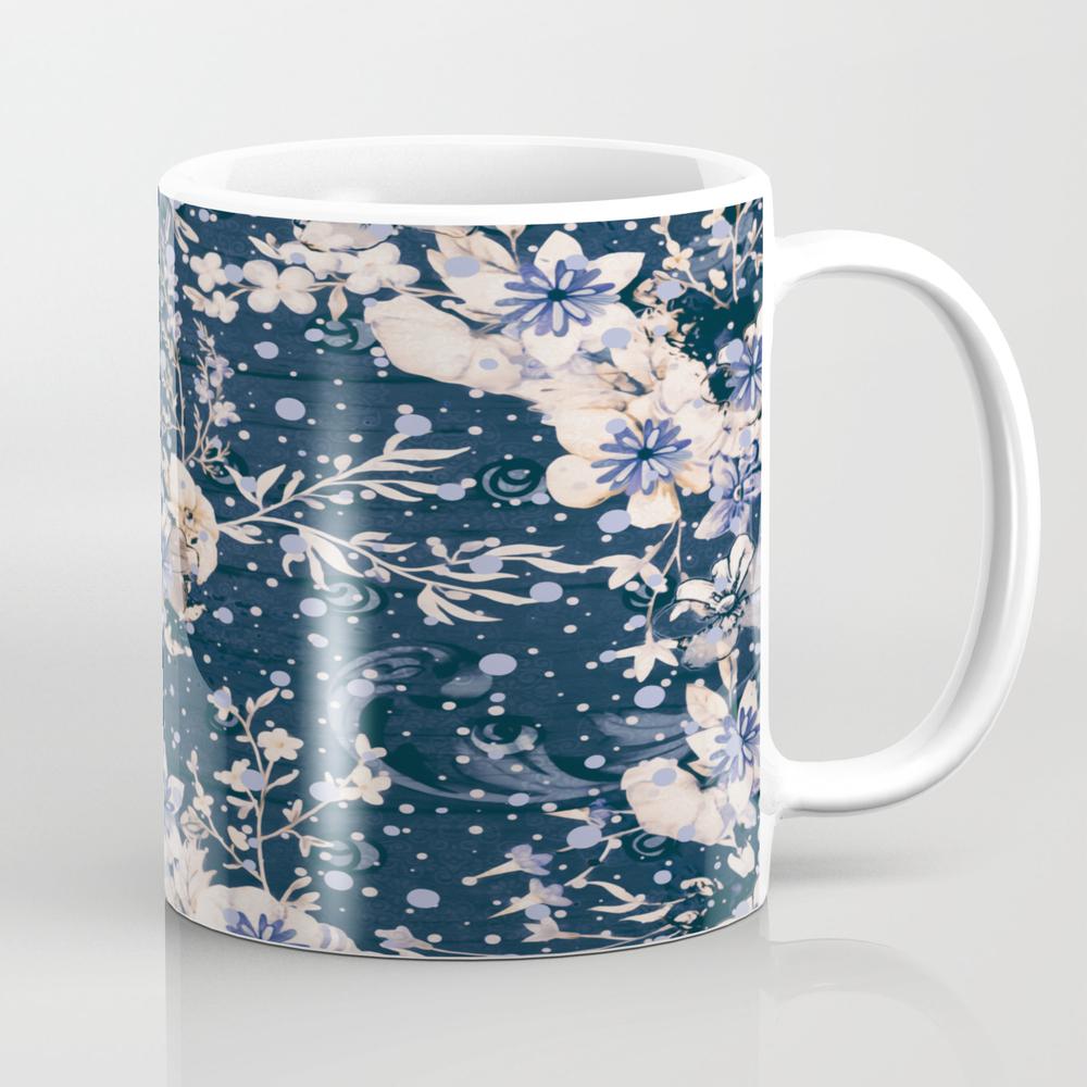 Indigo Fleurs Mug by Alexanderblooms MUG9125161