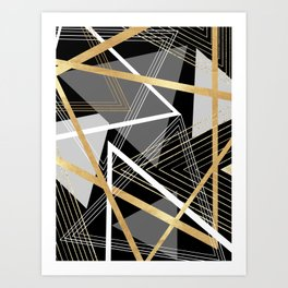 Original Gray and Gold Abstract Geometric Art Print