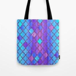 Moroccan Tile Pattern In Purple And Aqua Blue Tote Bag