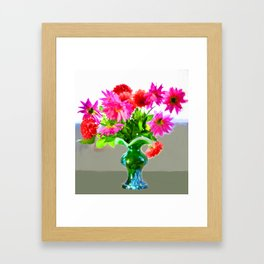 Green vase with bright colors Framed Art Print